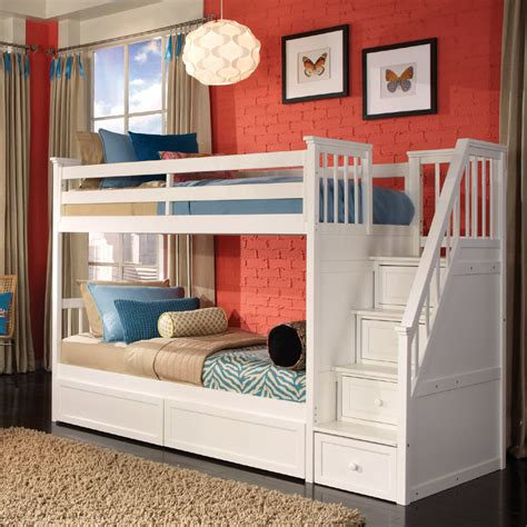 girls bunk beds with stairs white school house stair twin bunk rosenberryrooms com