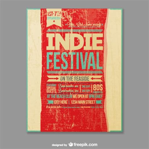 grunge indie festival poster vector free download