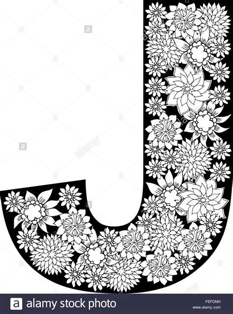 Floral J floral alphabet design letter j stock vector