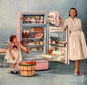 1950s by 1950s Usa Fridges Housewives Housewife Print By The