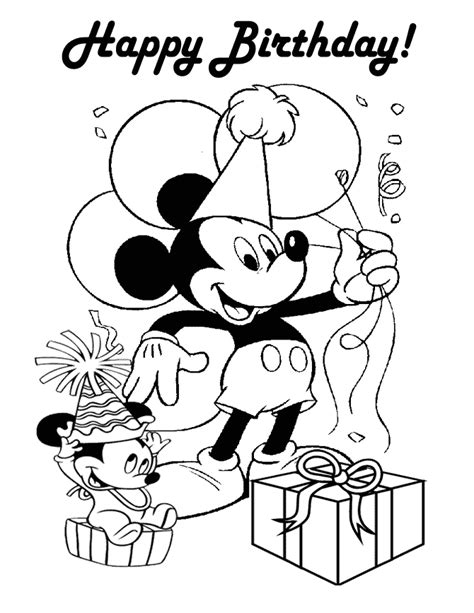 happy birthday coloring pages mickey mouse happy birthday mickey coloring page h m coloring pages
