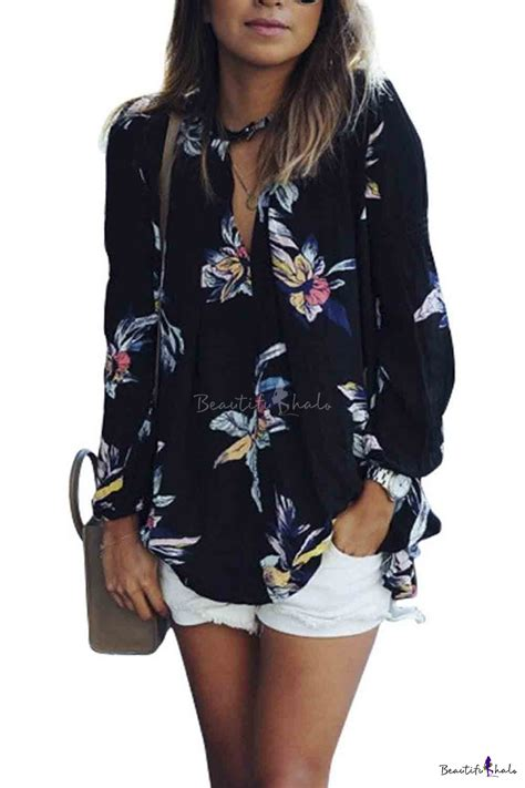 Flowers Casual Top 27161 casual see through floral print sleeve chiffon shirt blouse tops beautifulhalo