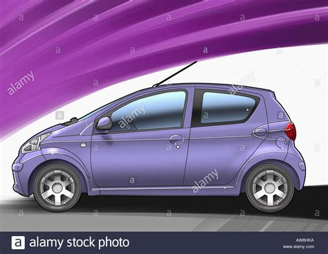 purple small sized four door car with purple and white