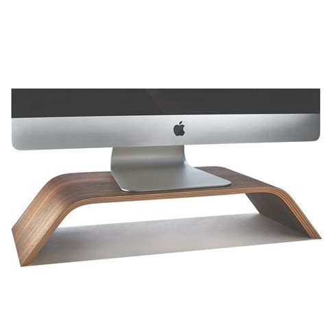 Wooden Monitor Stand Desktop Walnut Imac Riser Monitor Desk Stands