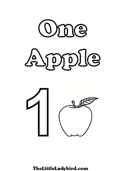 number one coloring pages of one apple crafts