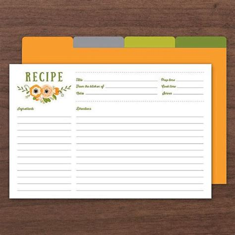 4x6 Recipe Card Template by Editable Recipe Cards Recipe Card Printable Recipe Card