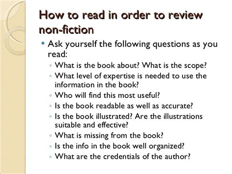 questions to ask for a book report how to write non fiction book review