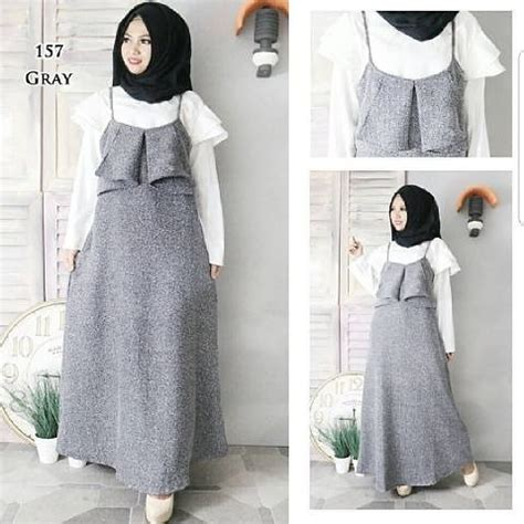 Overall Dress Wanita Muslim Line Overall grosir baju muslim grey overall grosir baju muslim