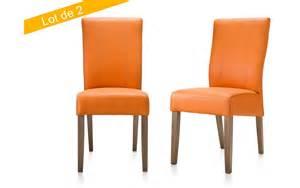 chaise feather moreno orange habufa lot de 2 chaise