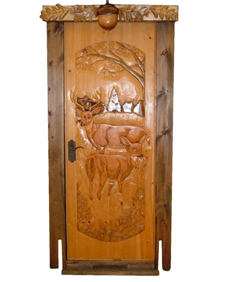 carved wood door buck and doe rustic artistry