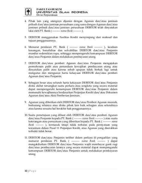contoh surat perjanjian kredit fh uii