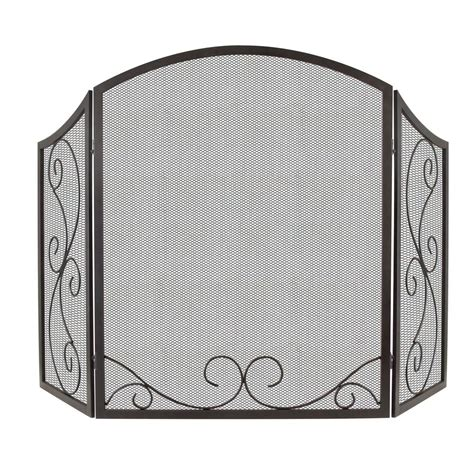 pleasant hearth iris 3 panel scroll fireplace screen in