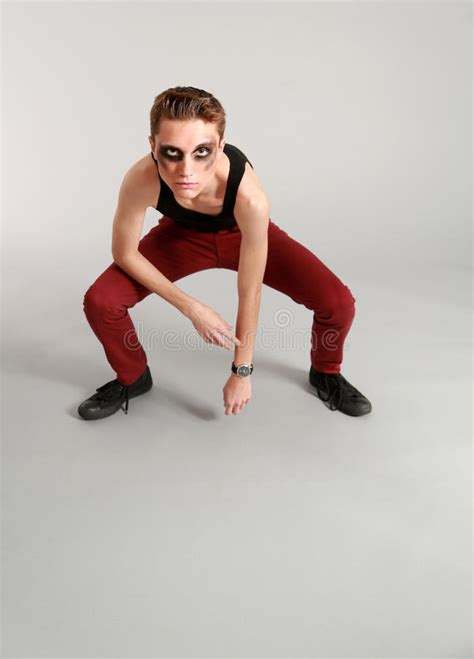 Crouching Models Fashion by Length Edgy Model Stock Image Image Of