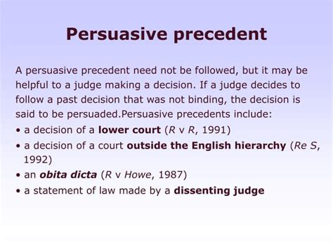 Persuasive Precedent by Ppt Judicial Precedent Powerpoint Presentation Id 973671