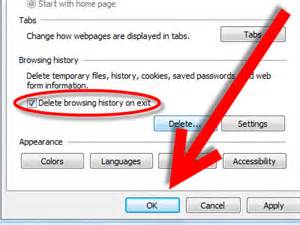 How to delete all the browsing history in internet explorer