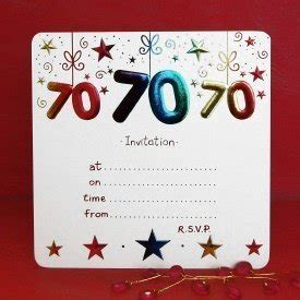 70th birthday card templates free pack of 10 70th birthday invitations co uk