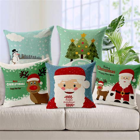 Cushion Bantal Natal 1 cushion covers snowman elk santa claus linen pillow cover for x new year sofa