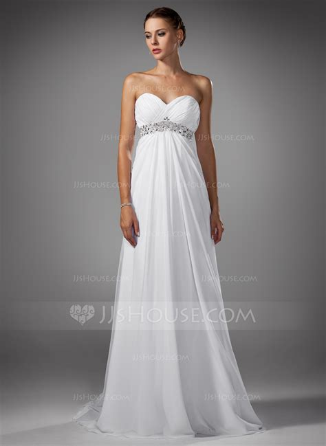Sweep Wedding Dress by Empire Sweetheart Sweep Chiffon Wedding Dress With