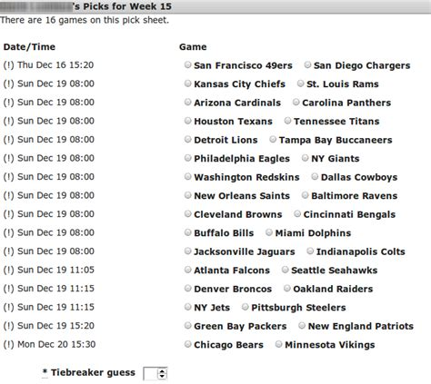 pick sheets nfl straight up pick em pooltrackers