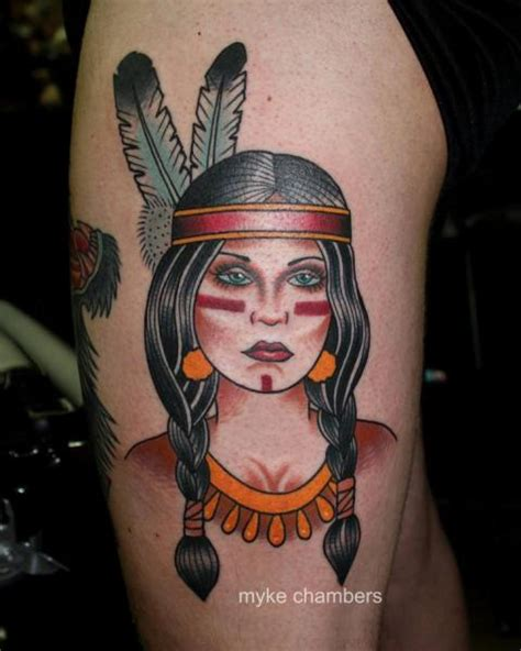 old school tattoo indian girl old school leg indian tattoo by mike chambers