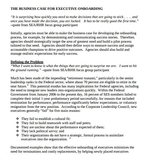 executive onboarding template sle onboarding plan template 7 free documents in pdf