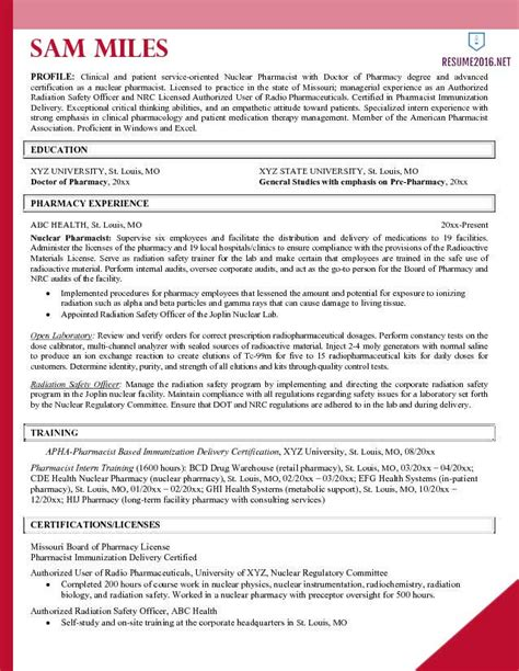 Pharmacist Resume Sles Free templates for resumes 2016 resume exles 2016 archives