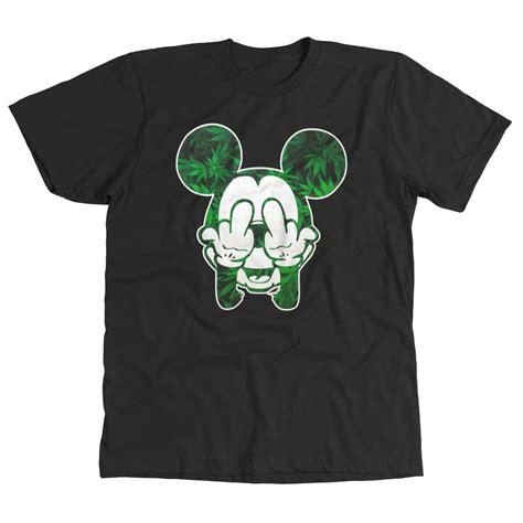 T Shirt Mickey Marijuana mickey pot leaf middle finger marijuana kush cool mens t shirt ebay