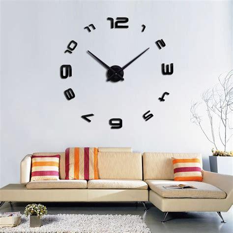 clocks home decor large diy 3d wall clock home decor mirror sticker