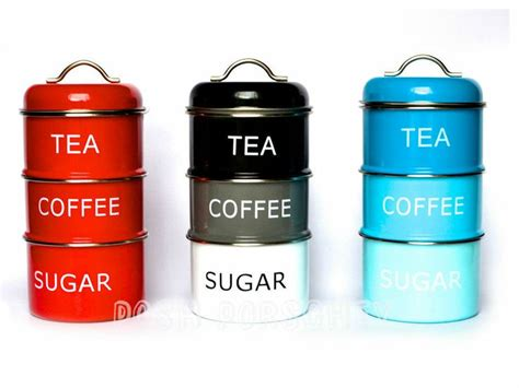 Red Kitchen Canister by Set Of 3 Air Tight Retro Vintage Tea Coffee Sugar Storage