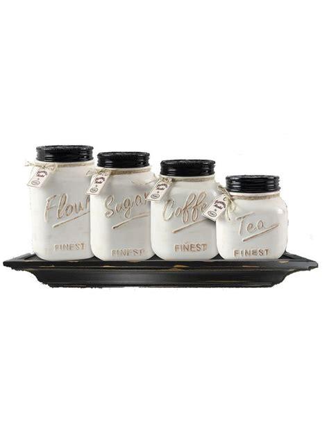 decorative kitchen canisters and jars ceramic mason jar canister set set of 4 zallzo com