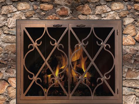 built in fireplace screens banded scroll zc factory built fireplace doors design specialties