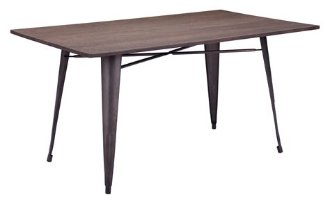 Titus Rustic Wood Metal Rectangular Dining Table Metal And Wood Dining Table