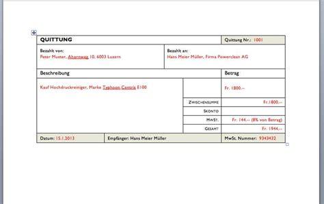 Microsoft Word Vorlage Quittung quittungsvorlage schweiz zum gratis muster