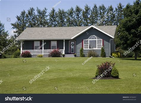 a small family home in the country or suburbia stock