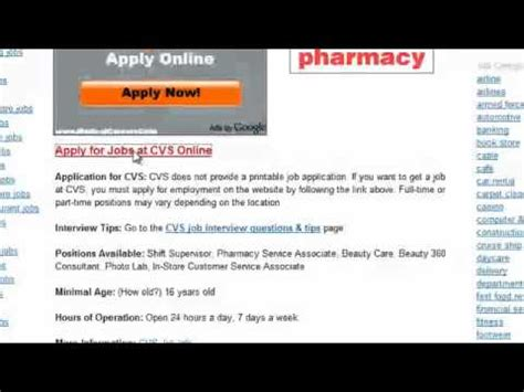 Cvs Pharmacy Apply by Cvs Application