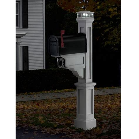mayne white led solar light cap for mailbox posts lzm 625 w