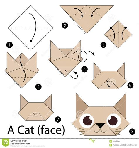 How To Make An Origami Cat - step by step how to make origami a cat stock