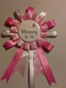 Pink and white mommy to be baby shower corsage pin