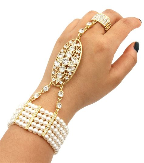 great gatsby chain bracelet cream pearl bracelet with ring 1920 great gatsby inspired