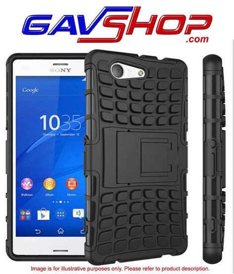 Armor Kickstand Xperia Z3 Casing Hardcase Back Cover Rugged Tough Sony gav for sony xperia z3 compact dual layer armor silicone shock resistant shell hybrid