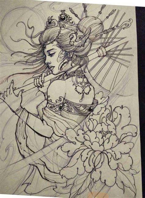 tattoo geisha sketch pin by qu 226 n hồng on geisha pinterest tattoo tatoo and