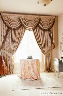 Traditional Curtains Ideas Quot Baroque Floral Quot Designer Valance Curtains With Swags And Tails By Celuc Traditional