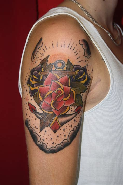 anchor tattoo with roses ideas by stephen waller