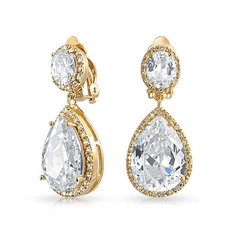 gold plated cubic zirconia teadrop dangle clip on earrings