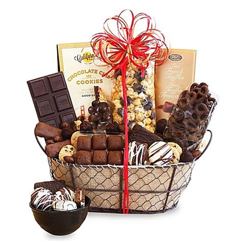bed bath and beyond gift baskets california delicious chocolate delights gift basket bed