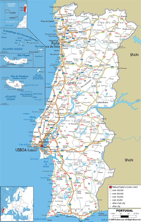 printable road map western europe detailed clear large road map of portugal ezilon maps