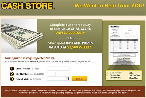 Store Surveys For Money - www cashlandlistens com customersatisfactionsurveyhq