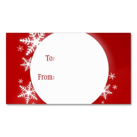 gift card tags template snowflakes white gift tag business card