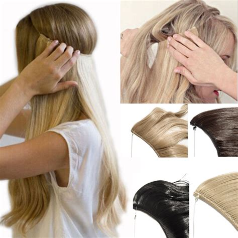 invisible line hair extensions amazon com sarla halo synthetic hair extension flip in
