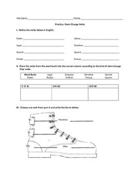 Stem Changing Verbs Worksheet Answers by Stem Change Verb Worksheet Present Tense By